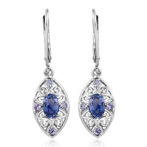 Ceylon Blue Sapphire, Tanzanite Platinum Over Sterling Silver Earrings TGW 1.56 cts.
