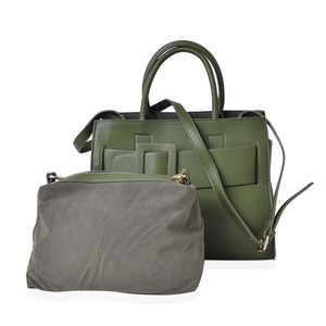 Green Faux Leather Set of 2 Handbag (12.2x6.4 in)