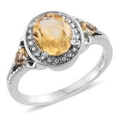 Brazilian Citrine Stainless Steel Ring (Size 5.0) TGW 2.60 cts.