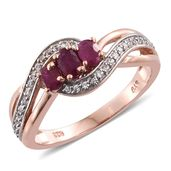 Burmese Ruby, Cambodian Zircon 14K RG Over Sterling Silver Ring (Size 7.0) TGW 1.08 cts.