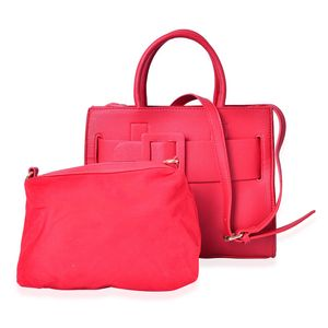 Red Faux Leather Set of 2 Handbag (12.2x6.4 in)
