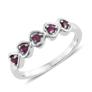 Niassa Ruby Stainless Steel 5 Stone Heart Ring (Size 7.0) TGW 0.25 cts.