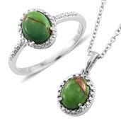 Mojave Green Turquoise Stainless Steel Ring (Size 7) and Pendant With Chain (20 in) TGW 3.48 cts.