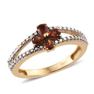 KARIS Collection - Mozambique Garnet ION Plated 18K YG Brass Floral Split Ring (Size 7.0) TGW 0.76 cts.