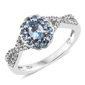 Santa Maria Aquamarine, Cambodian Zircon Platinum Over Sterling Silver Ring (Size 6.0) TGW 0.98 cts.
