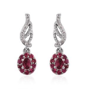 Mahenge Pink Spinal, Cambodian Zircon Platinum Over Sterling Silver Earrings TGW 0.99 cts.
