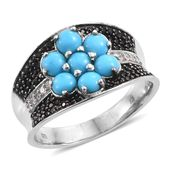 Arizona Sleeping Beauty Turquoise, Thai Black Spinel, Cambodian Zircon Platinum Over Sterling Silver Floral Concave Cluster Ring (Size 5.0) TGW 2.90 cts.
