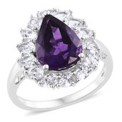 Amethyst, White Topaz Platinum Over Sterling Silver Ring (Size 10.0) TGW 7.90 cts.