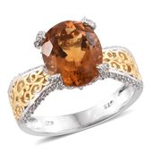 Tony's Collector Show Santa Ana Madeira Citrine, Cambodian Zircon 14K YG and Platinum Over Sterling Silver Ring (Size 9.0) TGW 5.20 cts.