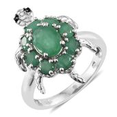 Kagem Zambian Emerald, Thai Black Spinel Platinum Over Sterling Silver Tortoise Ring (Size 5.0) TGW 2.55 cts.