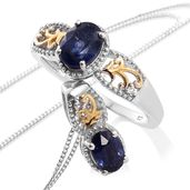 Masoala Sapphire, White Topaz, Cambodian Zircon 14K YG and Platinum Over Sterling Silver Ring (Size 8) and Pendant With Chain (20 in) TGW 3.23 cts.