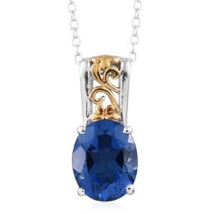 Brazilian Azul Quartz 14K YG and Platinum Over Sterling Silver Pendant With Chain (20 in) TGW 3.00 cts.