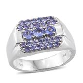 Premium AAA Tanzanite Platinum Over Sterling Silver Men's Ring (Size 14.0) TGW 2.20 cts.