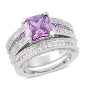 Simulated Purple and White Diamond Silvertone Set of 2 Ring (Size 6) TGW 6.50 cts.