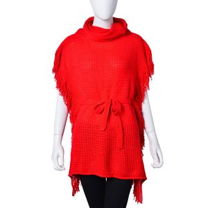 Red 100% Acrylic Poncho with Waistband (21.66x25.59 in)