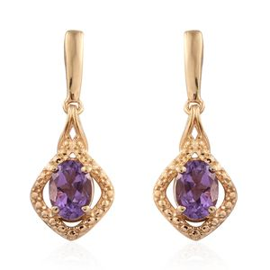 KARIS Collection - Bolivian Amethyst ION Plated 18K YG Brass Earrings TGW 1.48 cts.