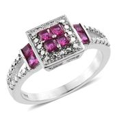 Lab Created Ruby Stainless Steel Checkerboard Split Ring (Size 7.0) TGW 0.88 cts.