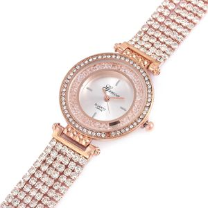GENOA Austrian Crystal Japanese Movement Multi Stand Bracelet Watch in Rosetone with Stainless Steel Back (7.75in)