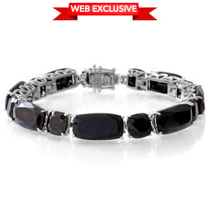 Thai Black Spinel Sterling Silver Faceted Statement Bracelet with Open Box Clasp (7.50 In) TGW 51.45 cts.