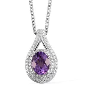 KARIS Collection - Bolivian Amethyst Platinum Bond Brass Pendant With Stainless Steel Chain (20 in) TGW 1.15 cts.