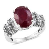 Niassa Ruby, White Topaz Platinum Over Sterling Silver Ring (Size 9.0) TGW 10.38 cts.