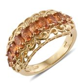 Orange Sapphire 14K YG Over Sterling Silver Ring (Size 6.0) TGW 2.59 cts.
