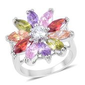 Simulated Multi Color Diamond Silvertone Daisy Flower Ring (Size 6.0) TGW 5.00 cts.