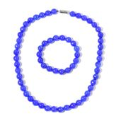 Burmese Blue Jade Beads Faceted Beads Sterling Silver Bracelet (Stretchable) and Necklace (18.00 In) TGW 526.00 cts.