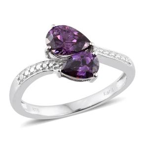 KARIS Collection - Simulated Amethyst Platinum Bond Brass Bypass Ring (Size 7.0) TGW 3.20 cts.