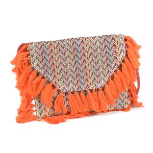 Multi Color 100% Cotton Jacquard RFID Sling Bag with Fringes (11.5x8.5 in)