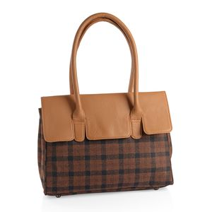 Brown and Tan Genuine Leather RFID Plaid Tote Bag with Standing Studs (14x10x4 in)
