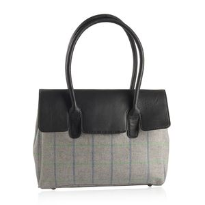 Gray and Black Genuine Leather RFID Tote Bag (14x10x4 in)