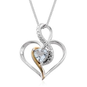 KARIS Collection - Espirito Santo Aquamarine ION Plated 18K YG and Platinum Bond Brass Heart Pendant With Stainless Steel Chain (20 in) TGW 0.35 cts.