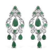 Kagem Zambian Emerald Platinum Over Sterling Silver Earrings TGW 2.16 cts.