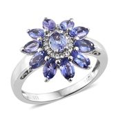 Premium AAA Tanzanite, Cambodian Zircon Platinum Over Sterling Silver Floral Ring (Size 5.0) TGW 3.25 cts.
