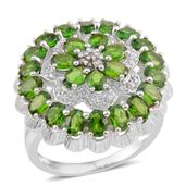 Russian Diopside, White Zircon Sterling Silver Ring (Size 6) TGW 5.020 Cts. TGW 5.02 Cts.