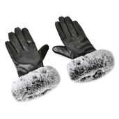 Black 80% Leather & 20% Polyester Glove (3.54x9.05 in)