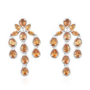 Yellow Sapphire Platinum Over Sterling Silver Earrings TGW 3.08 cts.