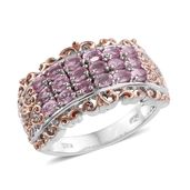 Mahenge Pink Spinel, Cambodian Zircon 14K YG and Platinum Over Sterling Silver Ring (Size 7.0) TGW 1.50 cts.