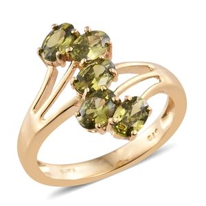 KARIS Collection - Simulated Peridot Diamond ION Plated 18K YG Brass Ring (Size 8.0) TGW 3.40 cts.