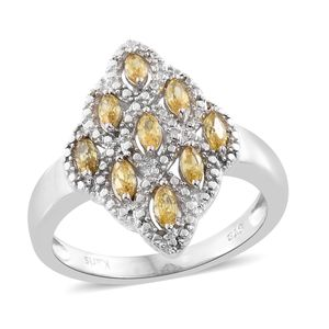 KARIS Collection - Simulated Yellow Sapphire Platinum Bond Brass Ring (Size 7.0) TGW 1.20 cts.