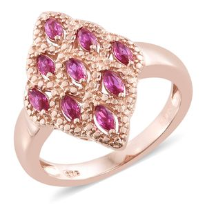 KARIS Collection - Simulated Ruby ION Plated 18K RG Brass Ring (Size 7.0) TGW 0.78 cts.