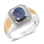 Australian Boulder Opal, Cambodian Zircon 14K YG and Platinum Over Sterling Silver Men's Ring (Size 11.0) TGW 1.95 cts.