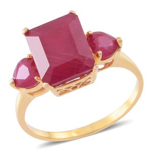 Niassa Ruby 14K YG Over Sterling Silver Ring (Size 8.0) TGW 9.15 cts.