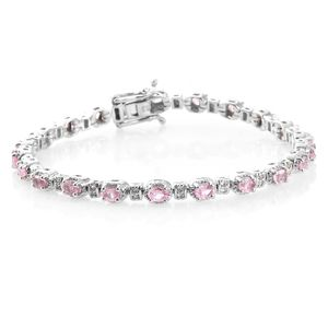 Mahenge Pink Spinel, Cambodian Zircon Platinum Over Sterling Silver Bracelet (7.50 In) TGW 4.46 cts.