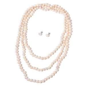 MEGA CLEARANCE Freshwater Pearl Sterling Silver Stud Earrings and Endless Necklace (64 in)