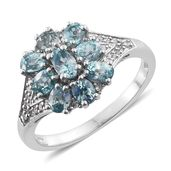 Cambodian Blue Zircon, Cambodian Zircon Platinum Over Sterling Silver Ring (Size 5.0) TGW 3.11 cts.