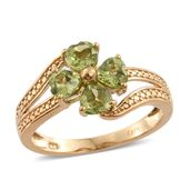 KARIS Collection - Hebei Peridot ION Plated 18K YG Brass Flower Bypass Ring (Size 8.0) TGW 2.00 cts.