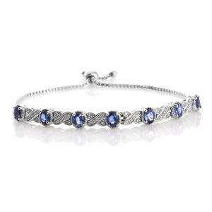 Ceylon Blue Sapphire, Cambodian Zircon Platinum Over Sterling Silver Magic Ball Bracelet (Adjustable) (7.50 In) TGW 3.44 cts.