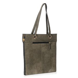 Olive Green Genuine Suede Leather RFID Tote Bag (15x15 in)